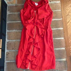 Flare red ruffle zip dress